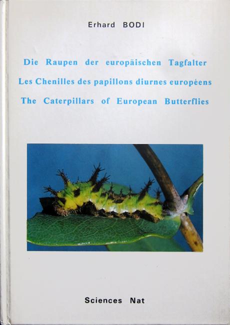Erhard Bodi, Die Raupen der europäischen Tagfalter - Les Chenilles das papillons diurnes europeens - The Caterpillasr of european Butterflies, Sciences Nat, Venette (FR), 47 p. + 19 tavole, ISBN 2-85724-029-5, 1985. L'autore di questo libro, appassionato di macrofotografia e allevatore di insetti, ha raccolto qui una parte della sua collezione fotografica di bruchi di farfalle europee, figurando 159 specie in totale. Le foto sono tutte a colori e di buona qualità. Di ogni specie è presente un testo breve ed estremamente informativo, molto utile ai fini di un allevamento. Davvero curiosa è stata la scelta dell'autore di creare un libro multilingua, nello stile delle guide turistiche. Ciò risponde probabilmente ad un'esigenza di carattere divulgativo, laddove le lingue appartengono a paesi dove vi è una profonda cultura entomologica. Questo è uno dei libri che mi sono stati gentilmente donati dal figlio di M. Dogliotti, che fu attivissimo e generoso appassionato di Ropaloceri italiani.